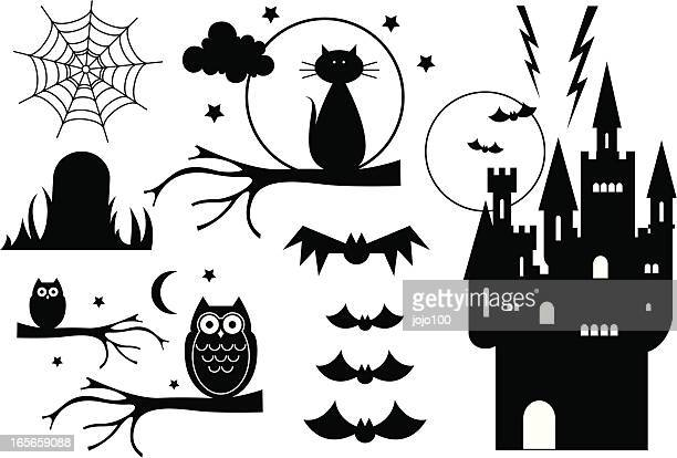 Halloween Elements in Silhouette
