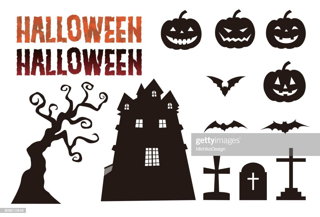 Halloween elements, jack o lantern, bat, grave, haunted mansion