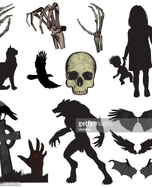 ilustrações de stock, clip art, desenhos animados e ícones de dia das bruxas elementos - lobisomem