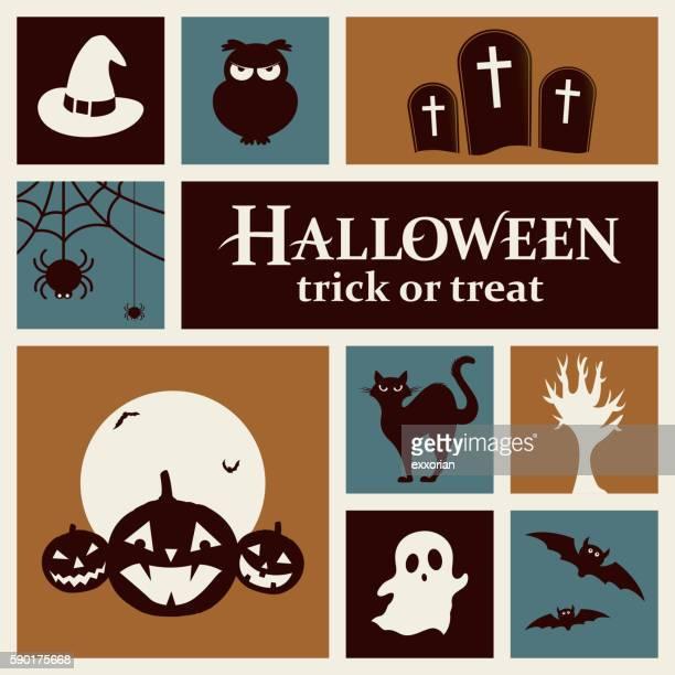 halloween elements - halloween cats stock illustrations