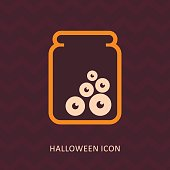 Halloween, eye glass jar vector silhouette icon