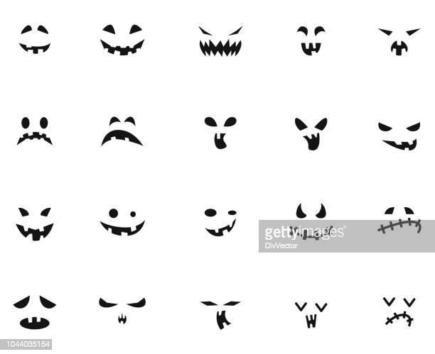 halloween-gesicht symbolsatz - halloween stock-grafiken, -clipart, -cartoons und -symbole