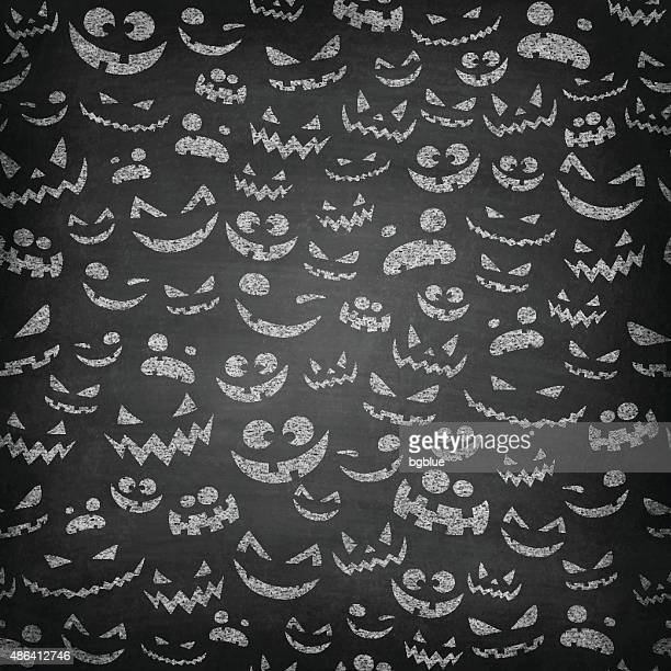Halloween Faces on Chalkboard - Seamless Pattern