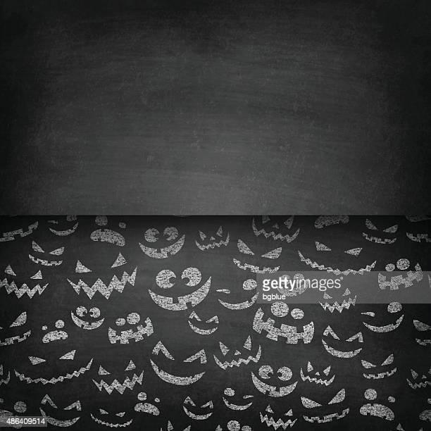 Halloween Faces on Chalkboard