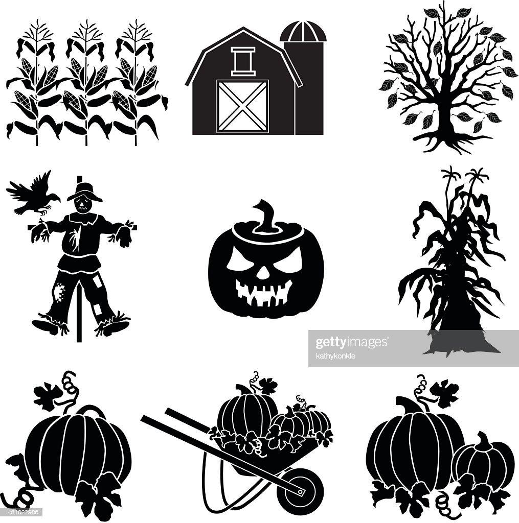 Halloween Vector Black And White.Halloween Farm Vector Icons In Black And White Stock Illustration