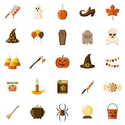 Halloween Flat Design Icon Set - gettyimageskorea