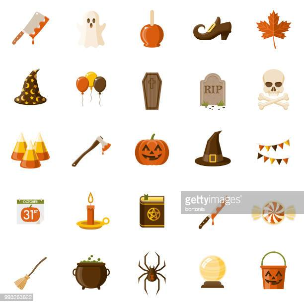 halloween flat design icon set - clip art stock illustrations, clip art, cartoons, & icons