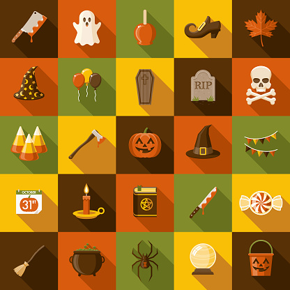 Halloween Flat Design Icon Set with Side Shadow - gettyimageskorea