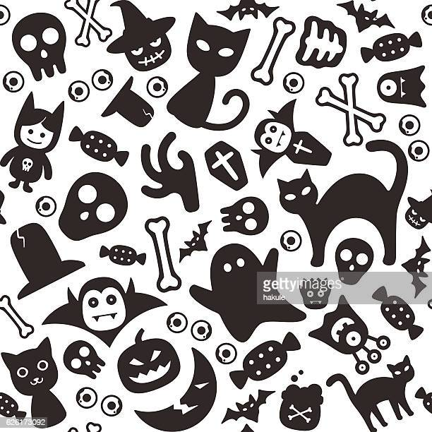 halloween flat icon design set, squared seamless pattern - halloween cats stock illustrations