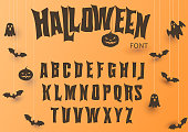 Halloween font, Original Typeface, Scary creepy alphabet, Dirty Letters, for holiday party. Vector