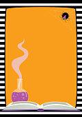 Halloween frame spider book potion