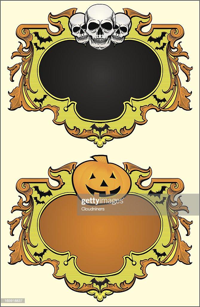 halloween frames with skulls pumpkin vector art getty images