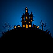 Halloween Fullmoon , Haunted House, Pumpkins and Bats.