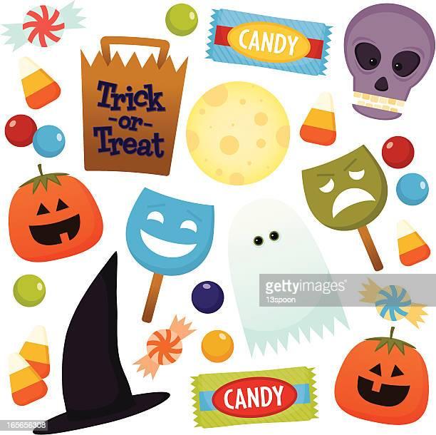 Halloween fun icons on white background