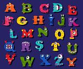 Halloween funny alphabet for children vector