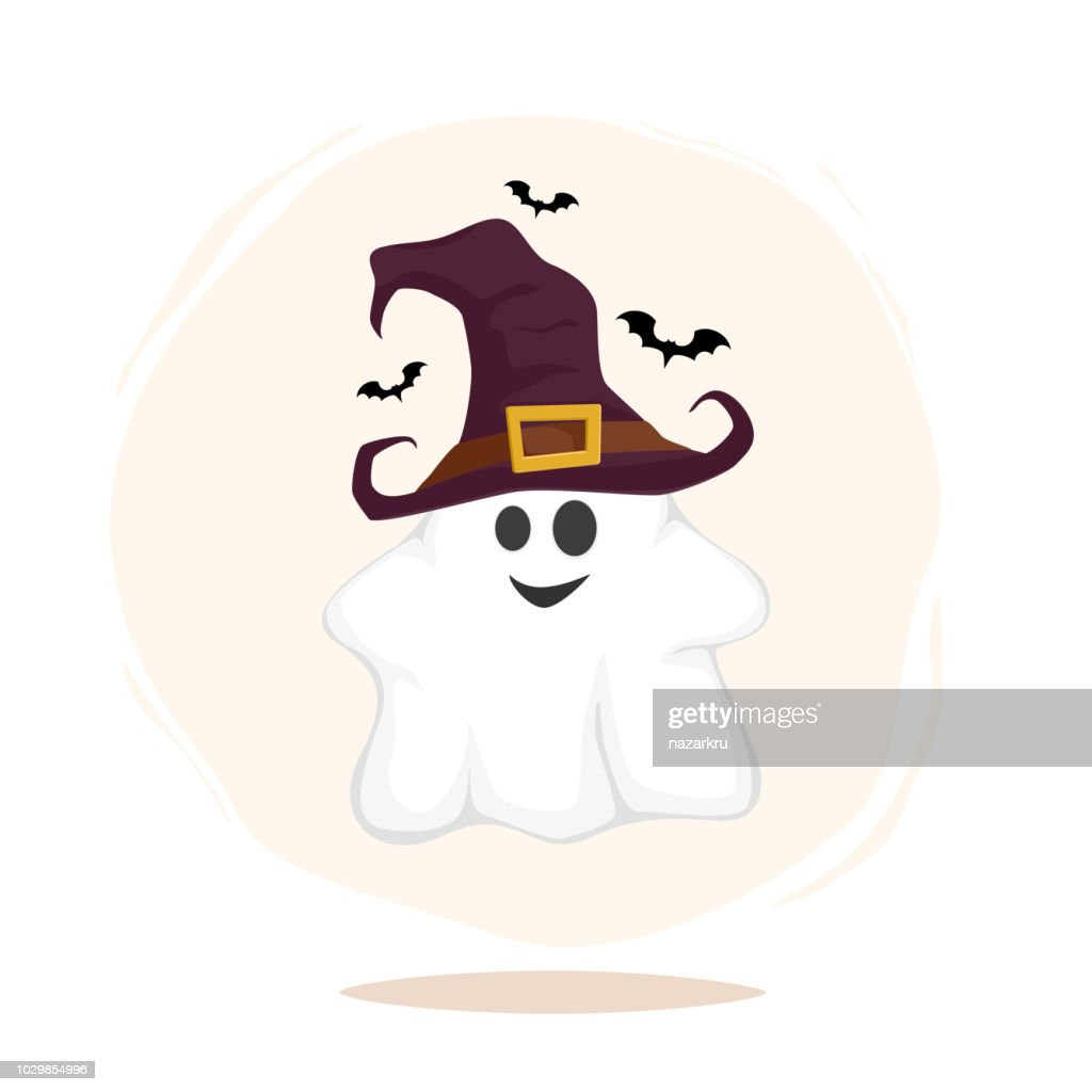 Halloween funny characters. Ghost in witch hat isolated on white background. Vectro illustration.