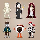 Halloween Ghost Character Design Set