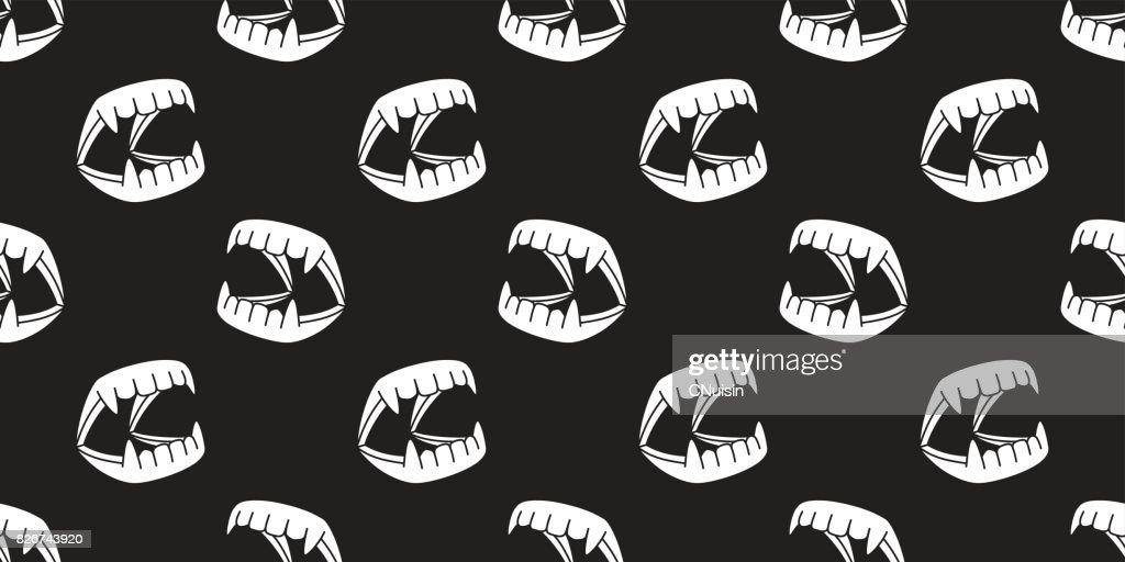 Halloween Ghost Dracula teeth evil Devil monster illustration seamless pattern icon wallpaper background : Stock Illustration