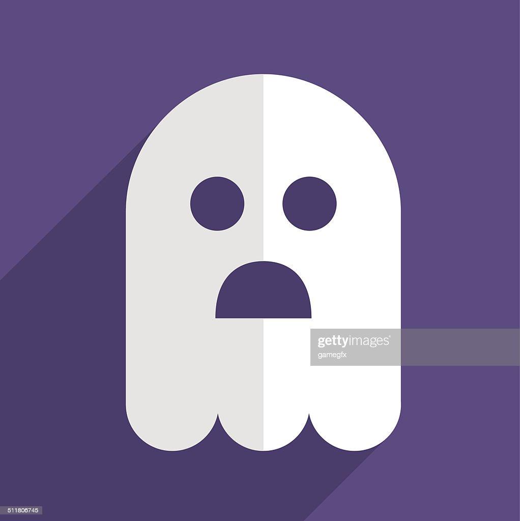 Halloween ghost flat icon badge