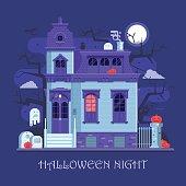 Halloween Ghost House Card