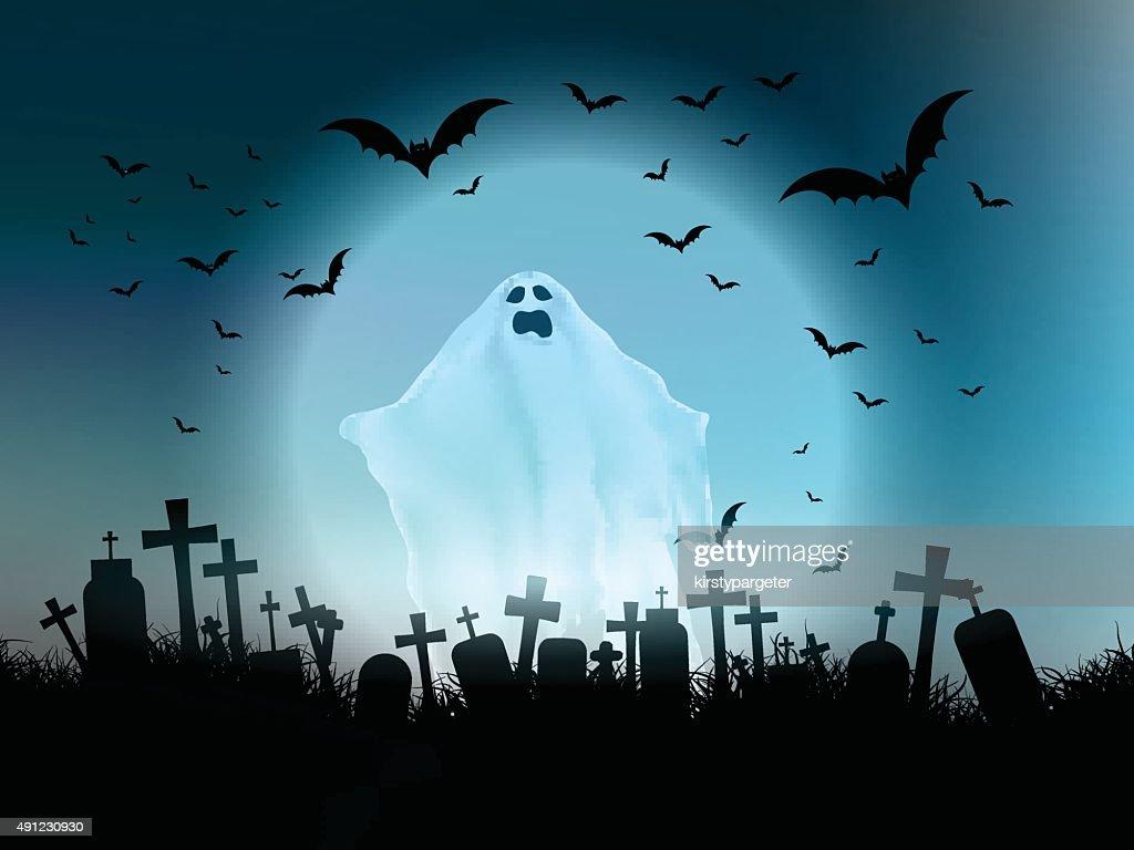 Halloween ghost landscape