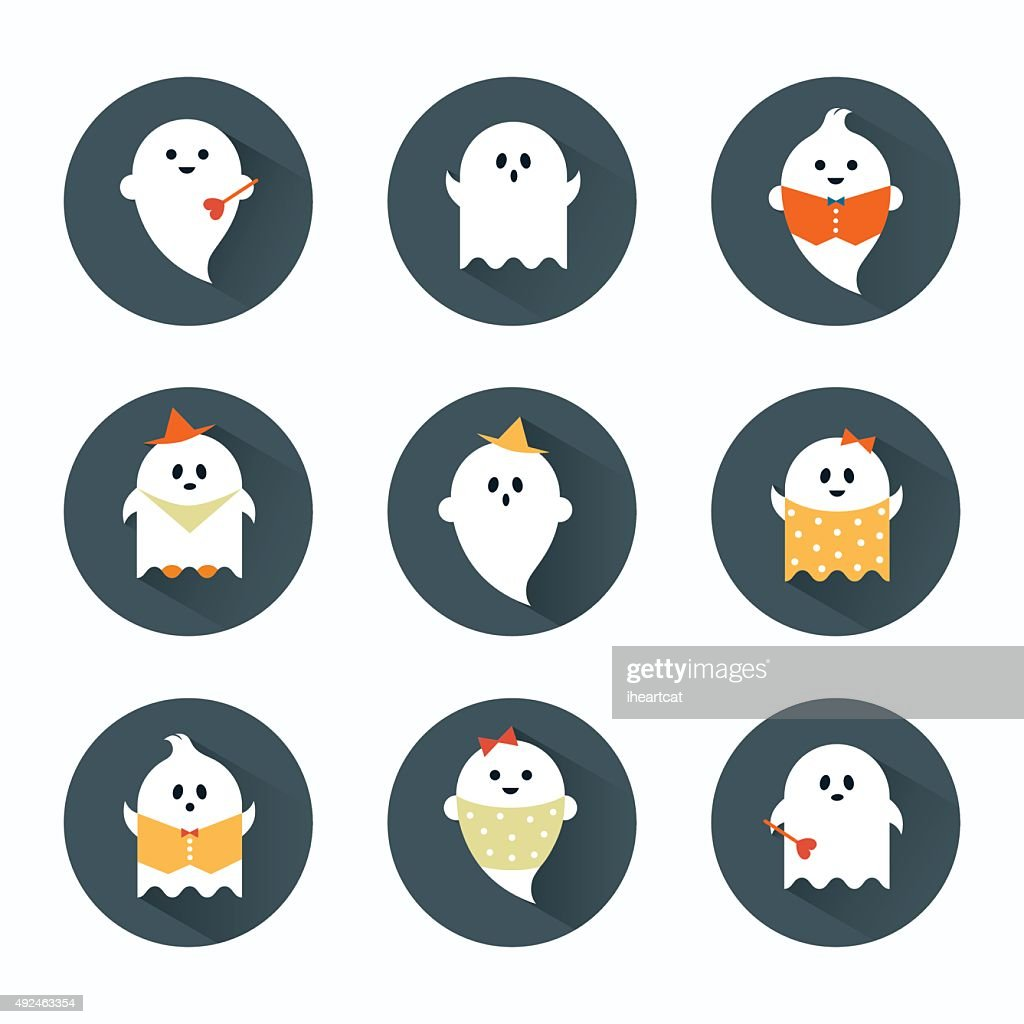 Halloween ghosts flat icons set