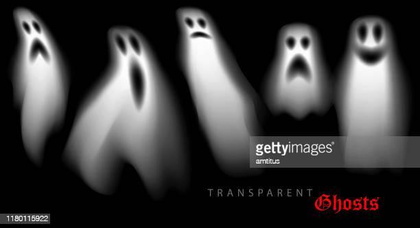 ilustraciones, imágenes clip art, dibujos animados e iconos de stock de fantasmas de halloween - aparición acontecimiento