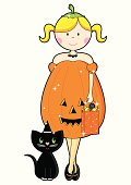 Halloween Girl Character with Black Cat