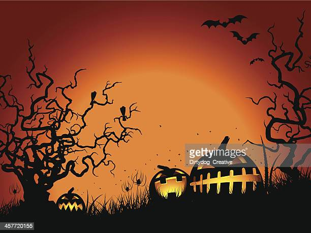 bildbanksillustrationer, clip art samt tecknat material och ikoner med halloween gnarled tree & pumpkins - taggig buske