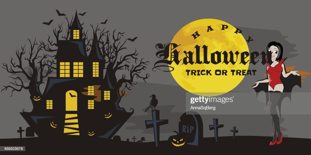 halloween gothic party with vampire girl fun background for horror