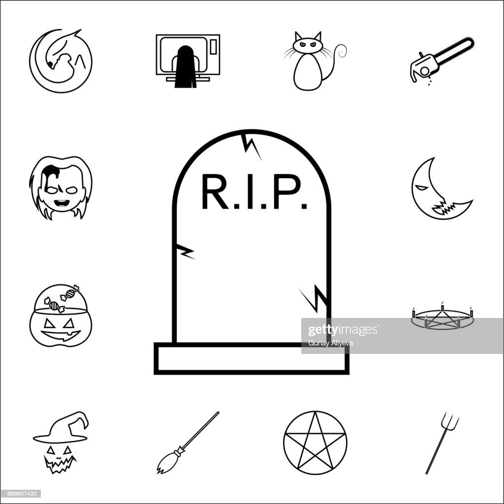 Halloween grave icon. Gravestone Rip tombstone icon. Set of Halloween icons