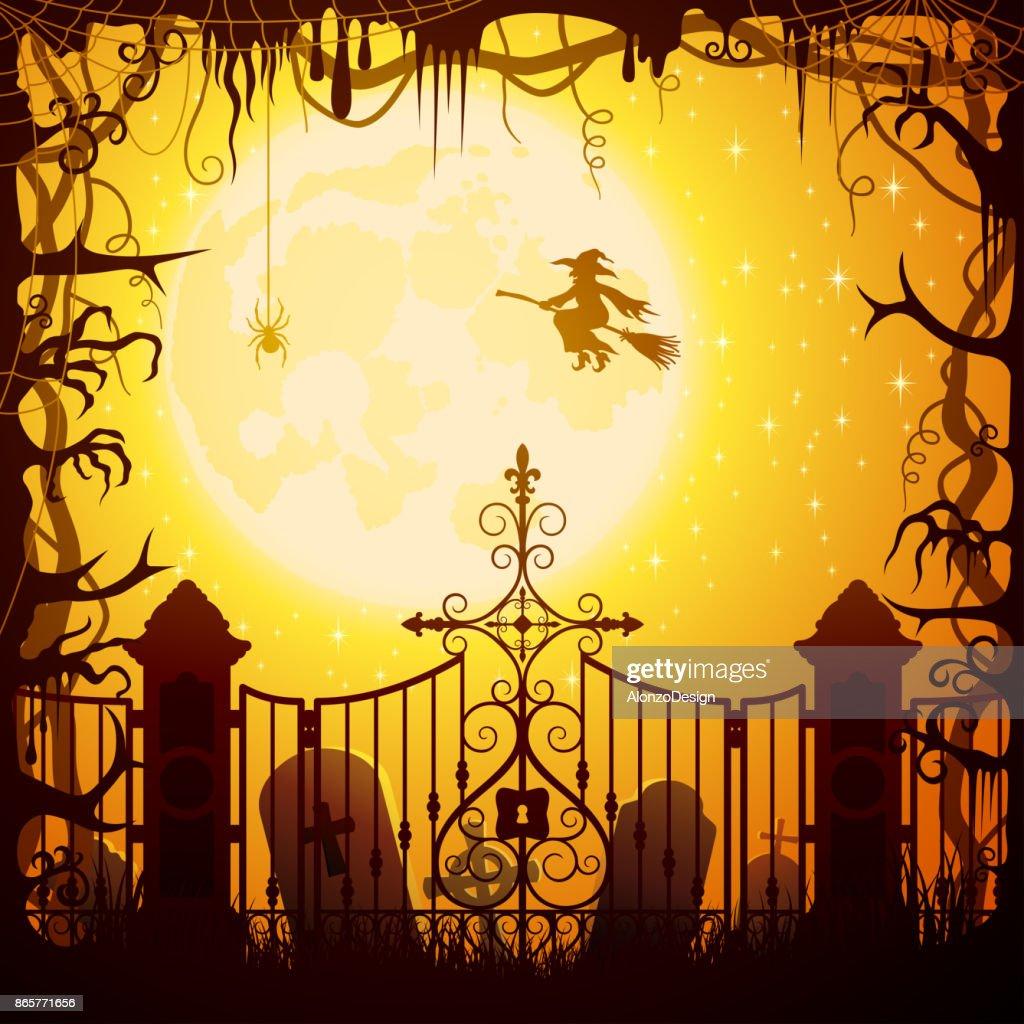 halloween graveyard cemetery vector art | getty images