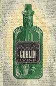 Hallowe'en green bottle with Goblin Juice labels