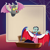 Halloween greeting card template. Cute cartoon bat, Dracula