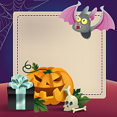 Halloween greeting card template. Gift box