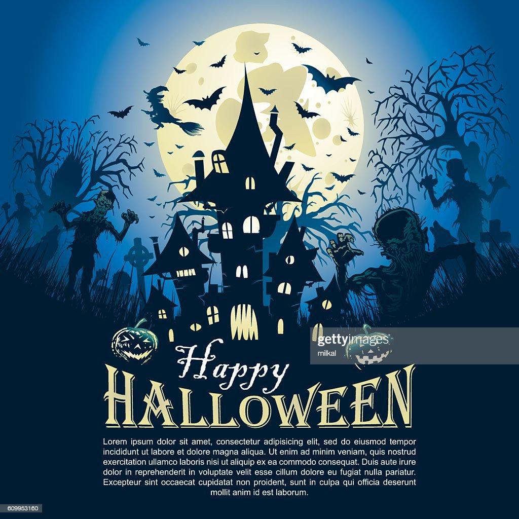 Halloween greeting castle card