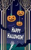 Halloween greeting - pumpkins, bats, skeleton hands, night forest .