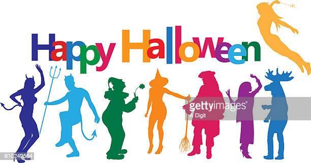 halloween grownups - mask dance stock illustrations