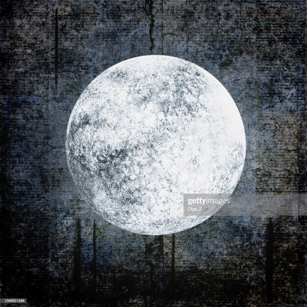 Halloween grunge background with full moon on night cloudy sky