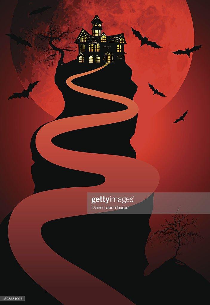 Maison hantée fond de Halloween avec la lune et les chauves-souris : Clipart vectoriel
