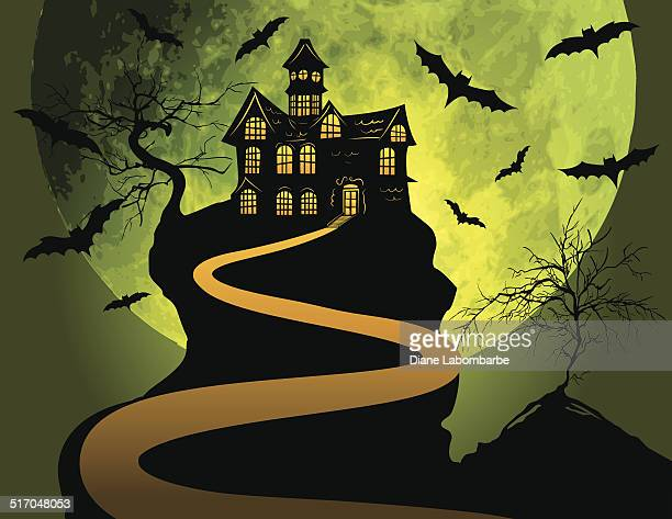 Halloween Haunted House Background With Moon and Bats