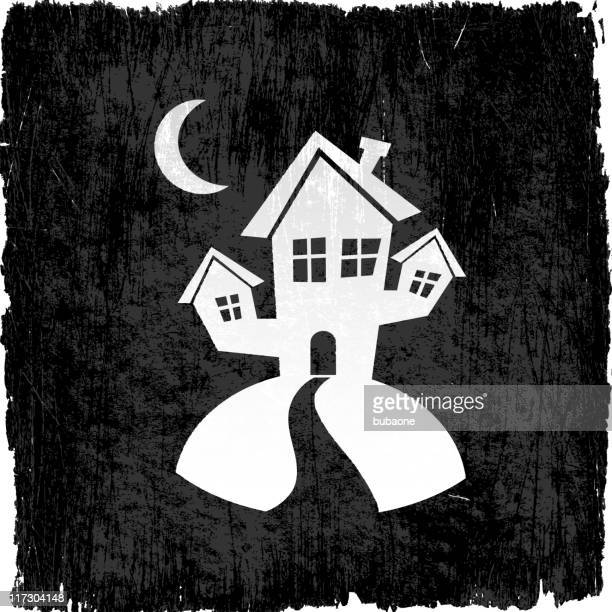 halloween haunted house on royalty free vector background - run down stock illustrations, clip art, cartoons, & icons