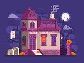Halloween Haunted House Scene