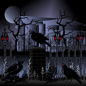 Halloween. Haunted house with fence and ravens, vector illustration.