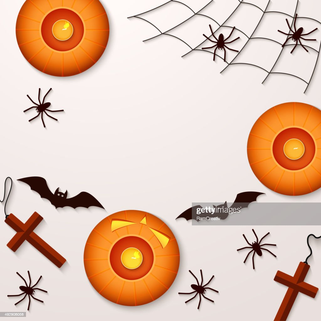 Halloween holiday background with spiders pumpkins and bats. Vie