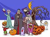 Halloween holiday cartoon funny characters group
