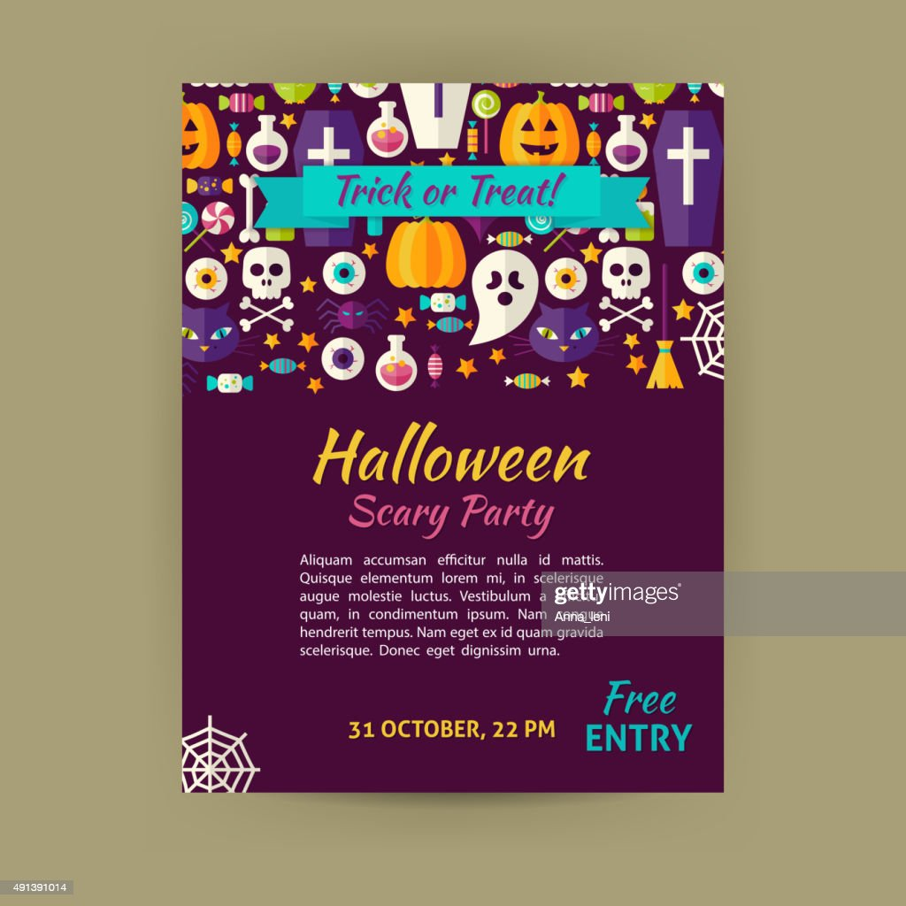 Halloween Holiday Vector Template Banner Flyer Modern Flat Style