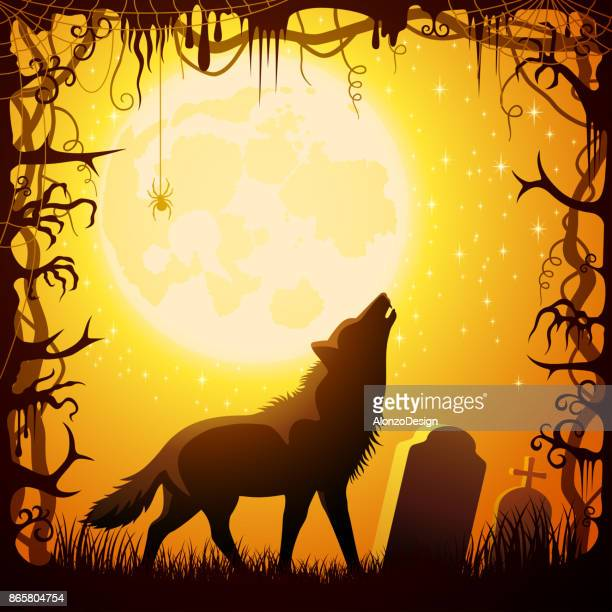 halloween howling werewolf - howling stock illustrations, clip art, cartoons, & icons