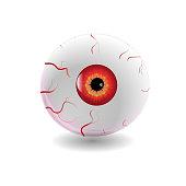 Halloween Human Eye, Eyeball with Veins Icon Symbol Design. Vector illustration isolated on white background