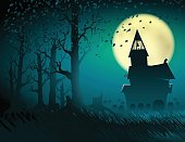 Halloween Hut Moon Light Trees Mystical Night Stump Background Cemetery
